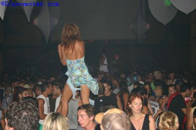 Cocoon at Amnesia, podium dancer in the Terrace