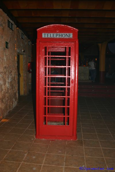 Cocoon at Amnesia, phone box in the Terrace