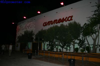 Amnesia, outside the club