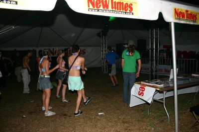 Girls dancing at the New Times tent