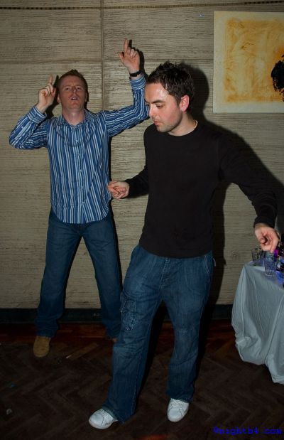 2 lads on dance floor at Q Club